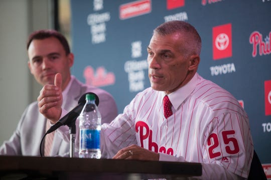 Phillies manager Joe Girardi, right, and General Manager Matt Klentak speak to the media at Citizens Bank Park Monday, Oct. 28, 2019.