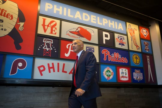 Phillies manager Joe Girardi walks out to speak to the media Monday, Oct. 28, 2019 at Citizens Bank Park.
