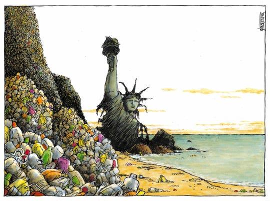 """Planet of the plastics"" editorial cartoon"