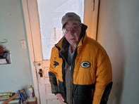 Bob heading outside wearing his new jacket.