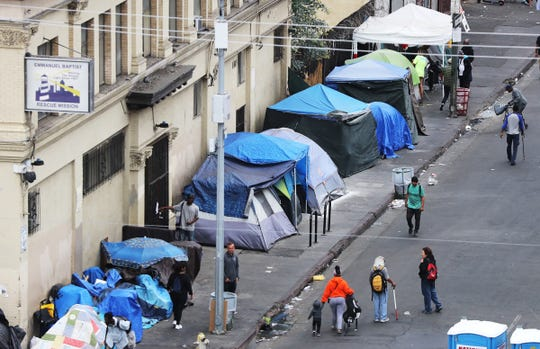 Homeless encampment in Los Angeles.
