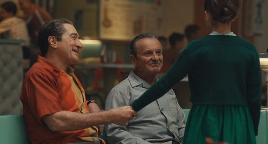 "Robert De Niro (left) and Joe Pesci are de-aged for their characters' 1950s-set scenes in ""The Irishman."""