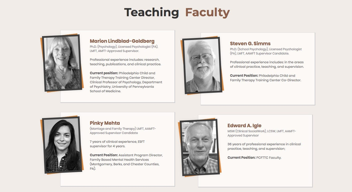 A screenshot from the Philadelphia Child and Family Therapy Training Center lists Edward Igle as part of the teaching faculty.