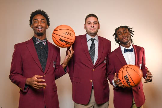 Westside High School men's basketball with C.J. Plantin, left, coach Nick Agnello, and Tyson Lewis.