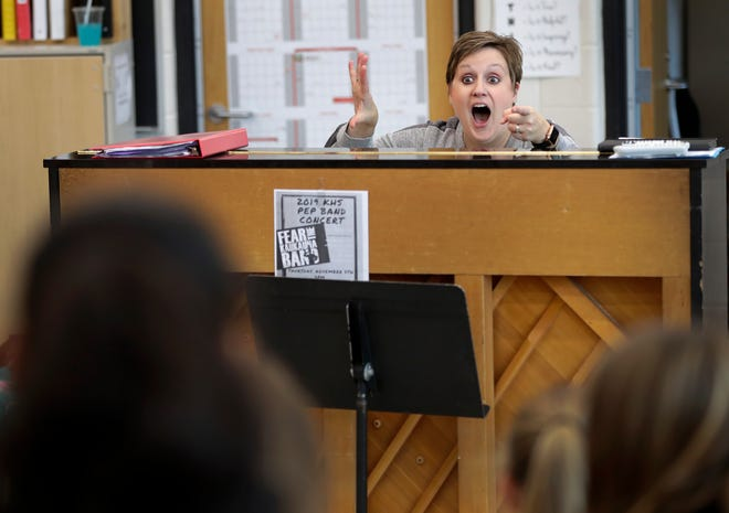 Kaukauna High School music teacher Joy Paffenroth leads a student choir in rehearsal Tuesday at the school. Paffenroth is a semifinalist for the Music Educator Award presented by the Recording Academy and the Grammy Museum.