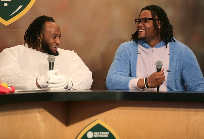 Green Bay Packers running back Aaron Jones (left) co-hosted Monday's Clubhouse Live in Appleton. Jones' guest was Packers rookie linebacker Rashan Gary.