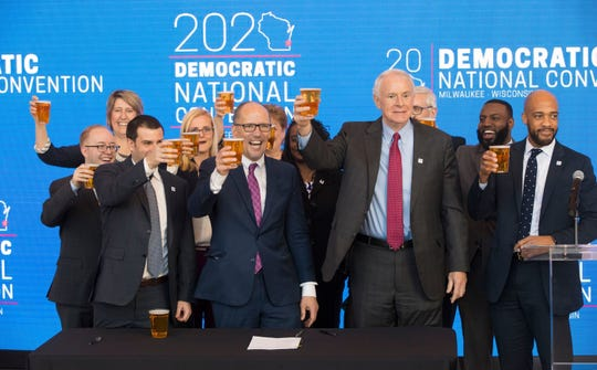 Democratic National Committee Chairman Tom Perez announced Milwaukee will host the 2020 Democratic National Convention at Fiserv Forum alongside Milwaukee Bucks Senior Vice President Alex Lasry, Milwaukee Mayor Tom Barrett and Lt. Gov. Mandela Barnes.