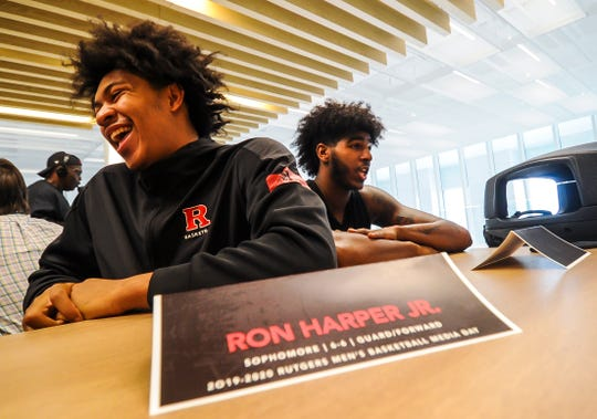 Ron Harper Jr., left and Myles Johnson of Rutgers men's basketball team are interviewed at Rutgers men's baskebtall media day at the RJW Barnabas Athletics Performance Center in Piscataway on Oct. 29, 2019.