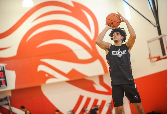 Geo Baker during practice at Rutgers men's baskebtall media day at the RJW Barnabas Athletics Performance Center in Piscataway on Oct. 29, 2019.