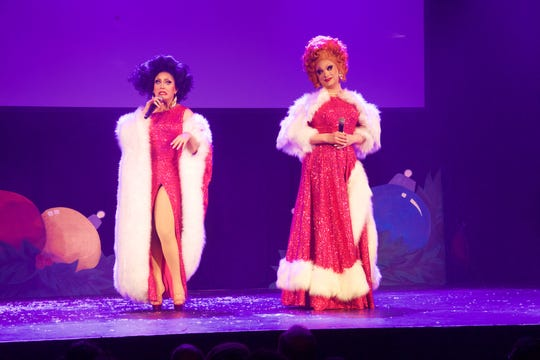 """RuPaul's Drag Race"" stars BenDeLaCreme, left, and Jinkx Monsoon, pictured on stage during their 2018 holiday tour"
