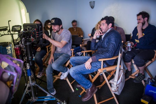 """Writer and director Logan Marshall-Green, left and cinematographer Pepe Avila del Pino on the set of """"Adopt a Highway,"""" an RLJE Films release."""