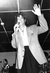 """B.J. Thomas waves to fans during a 1993 show at the Ponderosa Ballroom in Abilene, where he sang a new song, """"Southern Girl."""""""