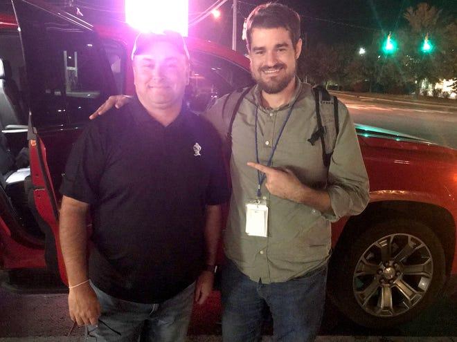 Brandon Lovin and Asheville Citizen Times sports reporter David Thompson on Oct. 28, 2019.