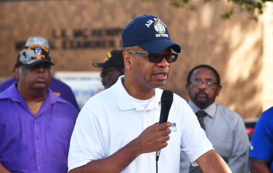 Randy Foster, retired Supervisor Deputy US Marshall & Air National Guard Military Police, asks for an outside investigation at the press conference. Community leaders, members of the NAACP, veterans and friends of Gregory Lloyd Edwards, who died while in custody, held a press conference outside the medical examiner's office demanding an outside investigation of the cause of Edward's death.