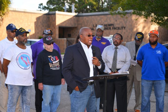 Family friend Brent Jackson speaks at a press conference last month. Community leaders, members of the NAACP, veterans and friends of Gregory Lloyd Edwards, who died while in custody, held a press conference outside the medical examiner's office demanding an outside investigation of the cause of Edward's death.