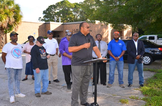 Cocoa Mayor Jake Williams spoke at the press conference. Community leaders, members of the NAACP, veterans and friends of Gregory Lloyd Edwards, who died while in custody, held a press conference outside the medical examiner's office demanding an outside investigation of the cause of Edward's death.