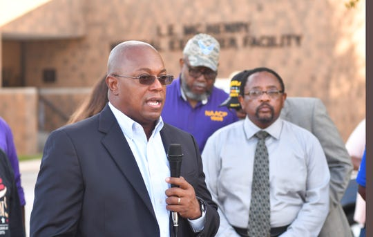 Family friend Brent Jackson speaks at the press conference. Community leaders, members of the NAACP, veterans and friends of Gregory Lloyd Edwards, who died while in custody, held a press conference outside the medical examiner's office demanding an outside investigation of the cause of Edward's death.