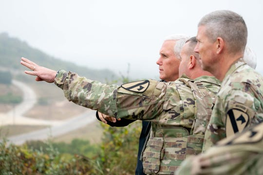 Vice President Mike Pence watches maneuvers on Fort Hood, Texas, Oct. 29, 2019.