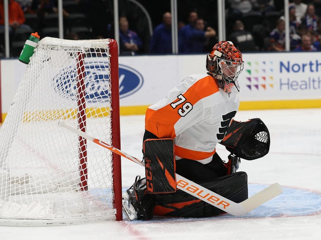 Carter Hart was pulled from two of his last three starts. Brian Elliott will start against the Pittsburgh Penguins Tuesday night.