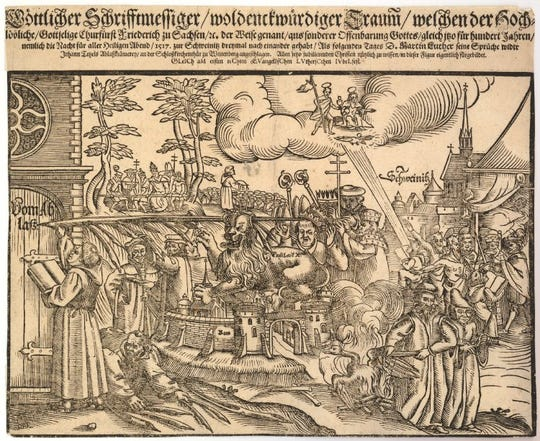 A print made for the 1617 Reformation Jubilee shows Luther writing the Theses on the Wittenberg church door.