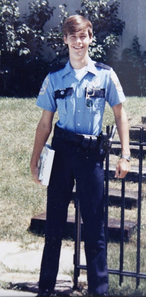 Morrow patrolman Jeff Phegley, son of Joe and Barb Phegley of Monfort Heights, reporting to work in 1986. The officer was killed by Tony McIntosh in 1987, six months after this photo was taken.  McIntosh is coming up for parole.