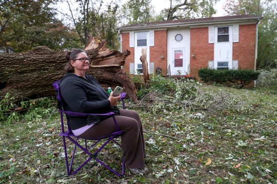Betty Gordon sits in her camp chair while waiting for her husband to return from getting their son after his work at the Gordon household on Airport Road in Clarksville, Tenn., on Monday, Oct. 28, 2019.
