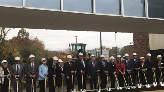 Hackensack Meridian Health executives and Middlesex County dignitaries celebrate the groundbreaking of a $39-million emergency department and lobby at Raritan Bay Medical Center Old Bridge.