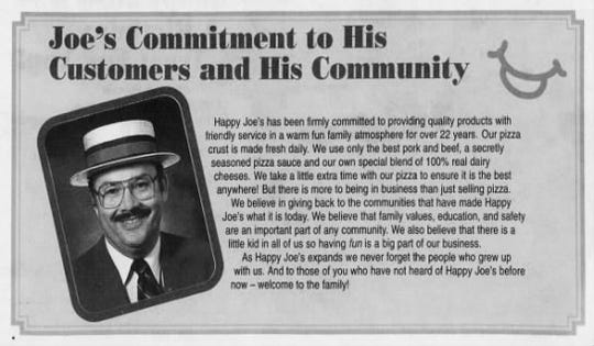 A Happy Joe's ad in the Oct. 21, 1994 edition of The Des Moines Register.