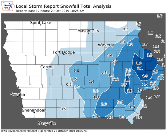 Snowfall totals across Iowa from Oct. 28, 2019 to Oct. 29, 2019, according to the mesonet at Iowa State University.