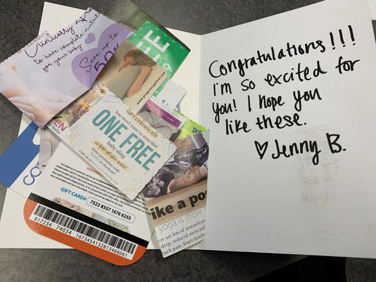 "Someone named ""Jenny B"" is alarming women in metro Detroit and elsewhere by sending words of congratulations -- and gift cards -- for being pregnant. Except many of the women aren't expecting a child."