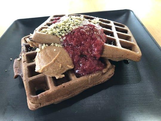 Vegan waffles at GreenSpace & Go.