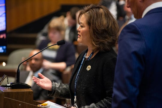 Detroit Inspector General Ellen Ha answers questions about preferential treatment by the mayor's office by Detroit City Council members Tuesday, Oct. 29, 2019.