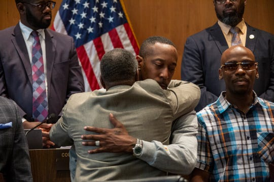 City Council meets Tuesday, Oct. 29, 2019 in the Erma L. Henderson Auditorium to honor men who were wrongfully convicted including James Clay. City Council member Roy McCalister Jr. hugs James Clay after Clay receives his Spirit of Detroit Award.