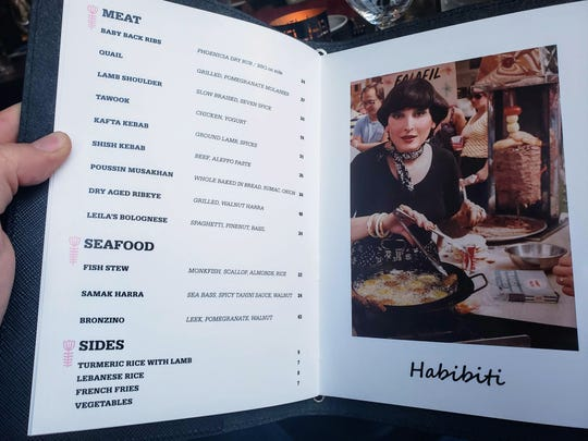 The menu at Leila in Capitol Park features a 1977 photo of restaurant namesake and inspiration, Leila Eid.