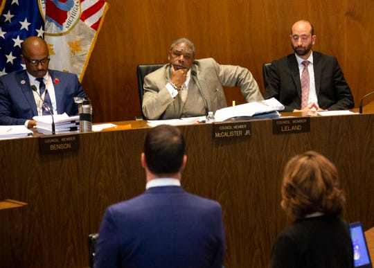 City Council member Roy McCalister Jr. questions City of Detroit corporation counsel Lawrence Garcia, left, and Detroit Inspector General Ellen Ha Tuesday, Oct. 29, 2019 in the Erma L. Henderson Auditorium.