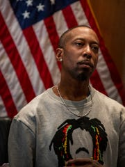 "City Council meets Tuesday, Oct. 29, 2019 in the Erma L. Henderson Auditorium to honor men who were wrongfully convicted including James Clay. Clay looks on during speeches as he and other receive the Spirit of Detroit Award for ""Wrongfully Convicted Hero"""