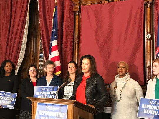 Gov. Gretchen Whitmer speaks during a press conference Tuesday, Oct. 29, 2019 in Lansing announcing future legislation that would repeal several of Michigan's abortion laws.