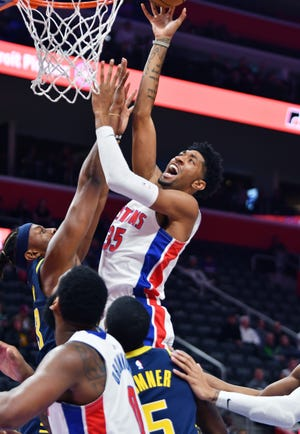 Pistons forward Christian Wood is averaging 10 points and 5.7 rebounds in 14.7 minutes so far this season.