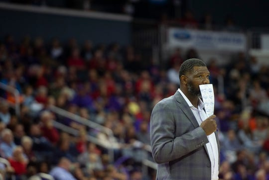 UE coach Walter McCarty watches as the USI-UE exhibition game is tied up at the Ford Center in Evansville, Monday, Oct. 28, 2019.