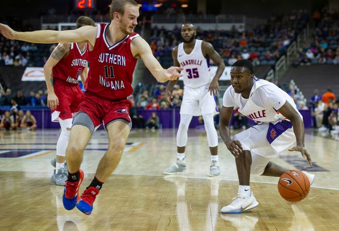UE's Jawaun Newton (3) dribbles the ball at the USI-UE exhibition game at the Ford Center in Evansville, Monday, Oct. 28, 2019.
