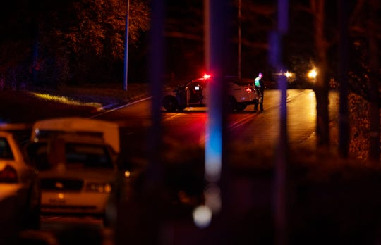 The Evansville Police Department close down Morgan Avenue as police conduct an investigation of a police-involved fatal shooting on Morgan Avenue just west of Theater Drive Monday night.