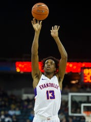 UE's Deandre Williams (13) shoots a free throw at the USI-UE exhibition game at the Ford Center in Evansville, Monday, Oct. 28, 2019.