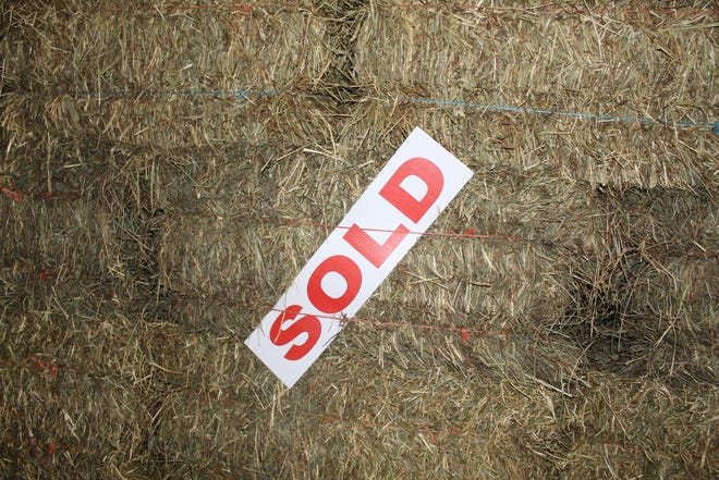 This bale of hay is sitting in one of Genoa farmer Chad Gargas' storage buildings and has already been sold. There has been a hay shortage this year in Northwest Ohio and across the state, as adverse weather conditions have resulted in the lowest inventory since 2012.