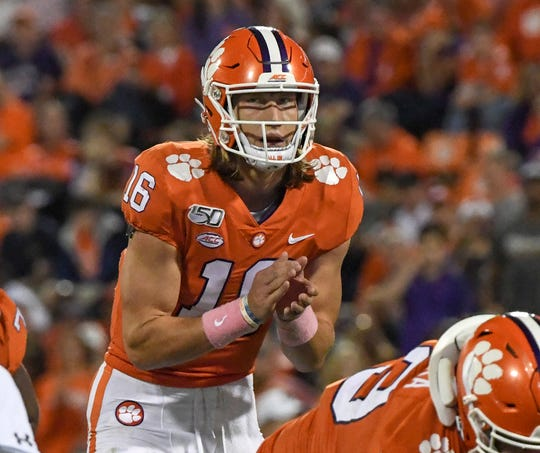 Clemson quarterback Trevor Lawrence (16) during the second quarter at Memorial Stadium with Boston College in Clemson, South Carolina Saturday, October 26, 2019.