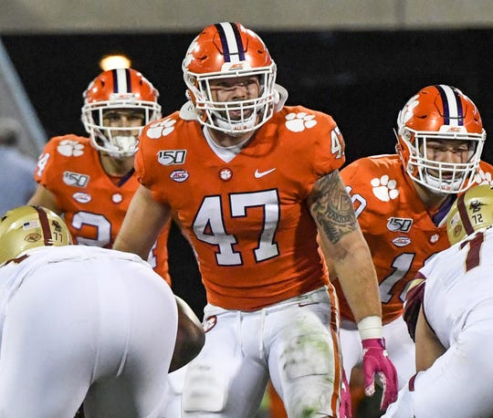 Clemson linebacker James Skalski (47) lines up with Boston College during the second quarter at Memorial Stadium with Boston College in Clemson, South Carolina Saturday, October 26, 2019.