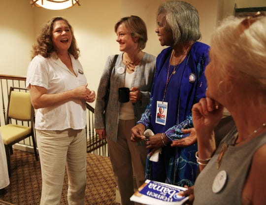 Kathleen Turner, left, spoke in Greenville at a Women for Obama breakfast in 2007.