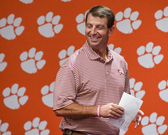 Clemson Head Coach Dabo Swinney talks during his weekly press conference at the Allen Reeves football complex in Clemson Tuesday, October 29, 2019.