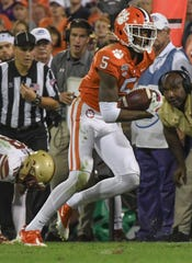 Clemson wide receiver Tee Higgins (5) during the second quarter at Memorial Stadium with Boston College in Clemson, South Carolina Saturday, October 26, 2019.