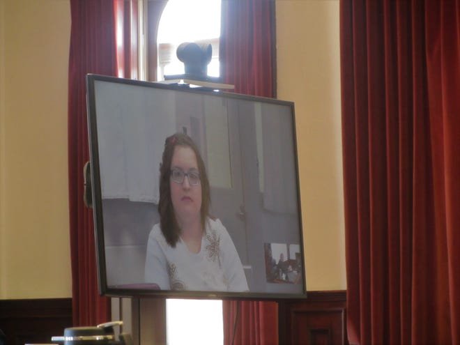 Samantha Ray Mears appears at her sentencing hearing via video from Montana State Hospital Tuesday, Oct. 29, 2019.