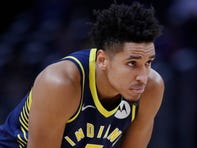 Indiana Pacers guard Malcolm Brogdon is seen during the first half of an NBA basketball game, Monday, Oct. 28, 2019, in Detroit.